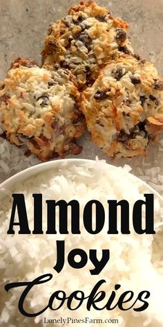 These cookies are incredibly delicious and taste just like Almond Joy candies, but better! Somehow they're both chewy and crispy...chocked full of coconut goodness. Plus the best part is that they only take four ingredients to make! And I bet you even have those ingredients in your pantry RIGHT NOW. So what are you waiting for? Give them a try today!   #baking #copycat Cookie Recipes, Cookie Tips, Dessert Recipes, Desserts, Plain Cookies, Fun Cookies, Almond Joy Cookies, Tasty Bites, Cookies Et Biscuits