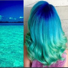 Beautiful hair color interpretation of a tropical ocean by Breanna Little mermaid hair blue hair turquoise hair color Cute Hair Colors, Beautiful Hair Color, Cool Hair Color, Hair Colours, Amazing Hair Color, Beautiful Ocean, Turquoise Hair Color, Hair Color Blue, Ocean Hair