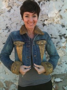 hand.painted. distressed. cropped. denim jacket by onward kitty. by cat stahl.  kitty model: leah scherschel.