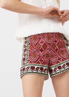Shorts algodão bordados | MANGO