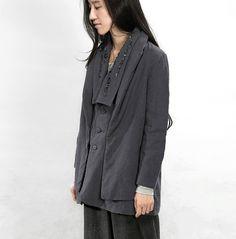 dark gray women coat wide lapel cotton blouse spring by ideacloth, $119.00
