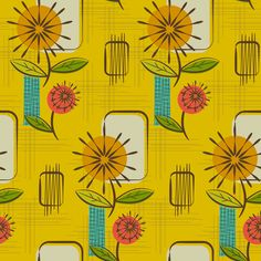 Mid Century Modern Dandelions ~ (Mustard) fabric by retrorudolphs on Spoonflower - custom fabric