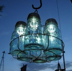 Antique Mason Jars and Solar Lights Chandelier