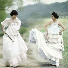 Modern Fusion Hanbok - the traditional korean dress given an update using unusual materials such as chiffon, in lighter colors