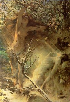 """dwellerinthelibrary: """" Witold Pruszkowski, (Wikimedia Commons doesn't give the exact title of this painting, but notes that it is an allegory of spring. Traditional Paintings, Traditional Art, Fantasy Paintings, Fantasy Art, Artist Art, Artist At Work, Pre Raphaelite, Classical Art, Figurative Art"""