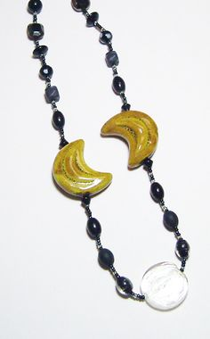 Mustard Gold Porcelain Crescents and Black Glass Beadwork Statement Necklace