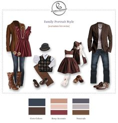 What to Wear for Family Portraits, Color Palette Clothing Suggestion - Russell Gearhart Photography Autumn Family Photos, Fall Family Photo Outfits, Family Picture Colors, Autumn Outfits, What To Wear Fall, How To Wear, Family Pictures What To Wear, Family Pics, Clothing Photography