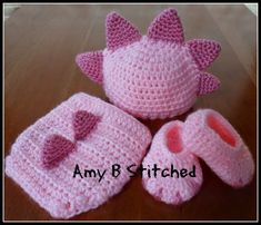 FREE PATTERN.....A Stitch At A Time for Amy B Stitched: Newborn DINOSAUR BABY Hat and Diaper Cover Set AND a Pattern review for Monster/Dinosaur Booties