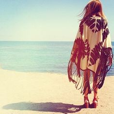 Boho chic kimono beach cover up with modern hippie style gypsy fringe. FOLLOW http://www.pinterest.com/happygolicky/the-best-boho-chic-fashion-bohemian-jewelry-gypsy-/ for the BEST Bohemian fashion trends in clothing & jewelry.