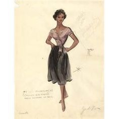"Edith Head costume sketch of Sophia Loren for ""Houseboat"" Hollywood Costume, Hollywood Fashion, Hollywood Glamour, Old Hollywood, Classic Hollywood, Sophia Loren, Fashion Sketches, Fashion Drawings, Fashion Illustrations"