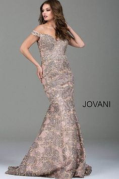 Blush Embellished Belt Off the Shoulder Mermaid Gown 52274 #FormalDance #FormalGown #PromDress #Jovani
