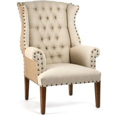 Oatmeal Linen & Burlap Tufted Wing Chair ($2,488) ❤ liked on Polyvore