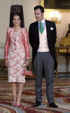 Spanish Princess Elena (L) and her husband, Jaime de Marichalar, attend the wedding of Crown Prince Felipe and his fiancee, Letizia Ortiz.