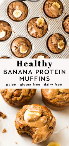 Protein Powder Muffins, Banana Protein Muffins, Protein Bread, Easy Protein Muffins Recipe, Banana Gluten Free Muffins, Protein Packed Breakfast, Healthy Breakfast Recipes, Paleo Breakfast Muffin, Healthy Banana Recipes