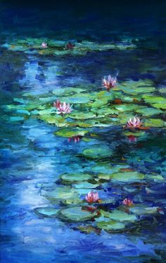 Water Lilies Painting, Pond Painting, Lotus Painting, Lily Painting, Painting & Drawing, Monet Paintings, Landscape Paintings, Painting Inspiration, Art Inspo