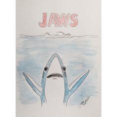 """Duuun dun duuun dun... #superbowl #katyperry #jaws #shark""  #kateyperrysharks #katyperryhalftimeshow #illustration #watercolor #CaseyONeillart"