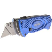 Faithfull Retractable Knife with Blade Storage    Quick release dial for easy blade change  Push button to release blade storage compartment  Sliding action with easy blade change.