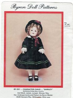 Byron Doll Pattern 1980's BY-251 Character Child Shirley Old Store Stock Sewing Pattern by LanetzLivingPatterns on Etsy