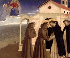 Beato Angelico, Incontro tra San Francesco e San Domenico. circa 1429, Gemäldegalerie, Berlino