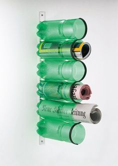 What to do with PET bottles? Upcycle them into magazine storage! Megs Twist: Use to store craft supplies!