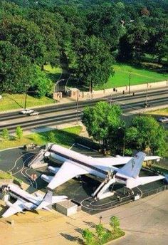 Elvis' airplanes TCB & the Lisa Marie across the road from Graceland