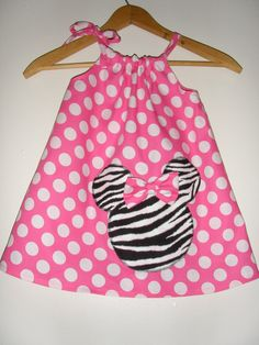 Minnie Mouse Pink  and Zebra applique   Swing by minnieschild, $19.99