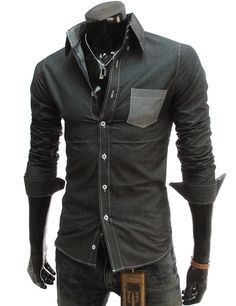 Men's slim fit shirt with two-tone pocket detail