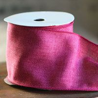 Fuchsia Faux Burlap #100 Wired Ribbon 4 Inch x 10 Yard Bolt