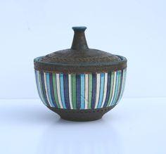 Vintage Mid Century Modern Bitossi or Raymor Italian Pottery Dish with Lid. $69.99, via Etsy.