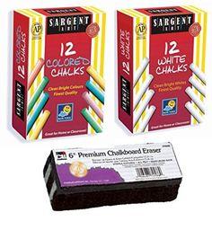 SALE! Best Selling Non-Toxic White Dustless Chalk (12 ct box) and Colored Dustless Chalk (12 ct box) Bundle + Premium Chalkboard Eraser, http://www.amazon.com/dp/B010BTLTSG/ref=cm_sw_r_pi_awdm_1x1-wb093P5BY