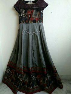 Indian Long Dress, Indian Gowns Dresses, Dress Indian Style, Kurta Designs, Saree Blouse Designs, Kalamkari Dresses, Blouse Models, Anarkali Dress, Indian Designer Wear