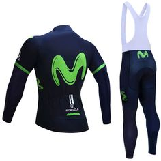 2017 Team Movistar Pro Long Sleeve Cycling Kits Green | Freestylecycling.com