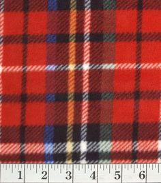 Anti Pill Fleece Fabric-Abbey Red Plaid