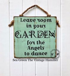 This Garden Angels Sign measures 11 inches long, 11 inches wide and is hand painted on inch thick, solid wood. This piece, as well as all my work, is sealed with an indoor/outdoor glossy seale Garden Types, Diy Garden, Garden Art, Garden Design, Garden Ideas, Garden Crafts, Wooden Garden, Art Crafts, Garden Projects