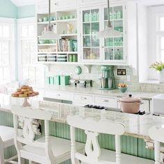A mint green kitchen round-up post. #kitchen #mint #retro
