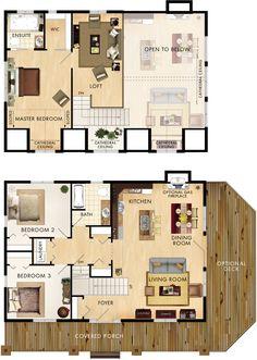 Gatineau floor plan home sims house plans, floor plans и hou Floor Plans 2 Story, Loft Floor Plans, Barndominium Floor Plans, House Floor Plans, Floor Plan With Loft, House Plans 2 Story, Sims House Plans, Dream House Plans, Small House Plans