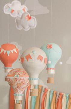 Hot Air Balloon Baby Mobile Coral and Aqua Travel Theme