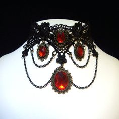 GOTHIC Vampire style CHOKER Restyled Steampunk Lolita Vintage Medieval Reinactment Vintage Style, Burlesque, Red Black, Goth, CosPlay - RUBY
