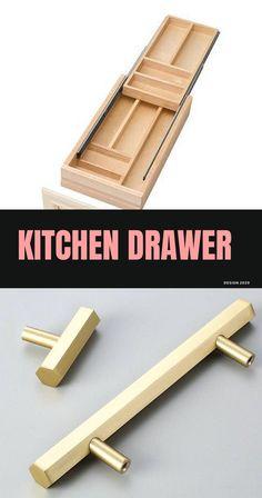 DIY Kitchen Drawer Ideas #drawer #diykitchendrawer Diy Kitchen, Kitchen Gadgets, Drawer Inspiration, Drawer Ideas, Drawer Design, Kitchen Drawers, Cool Kitchens, Shelving, Diy Home Decor