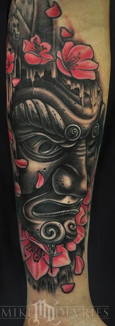 Japanese Mask Tattoo by Mike DeVries: Tattoo Inspiration - Worlds Best Tattoos Japanese Mask Tattoo, Japanese Tattoos For Men, Japanese Tattoo Designs, Tattoo Designs Men, Japanese Warrior Tattoo, Great Tattoos, Beautiful Tattoos, Body Art Tattoos, Tattoos For Guys