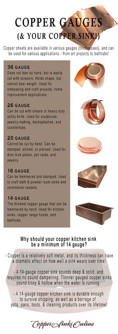 Copper gauge (and what it means for your copper kitchen sink!) This quick guide shows common copper gauges and their applications.