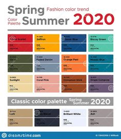 Illustration about Fashion color trends Spring Summer 2020. Palette fashion colors guide with named color swatches, RGB, HEX colors. Illustration of code, classic, cellulose - 158432956