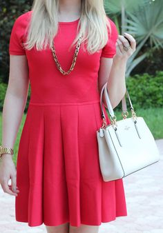 red pleated Parker dress