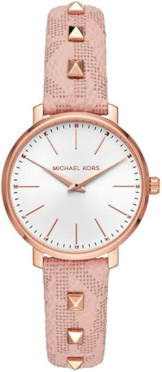 Michael Kors Women's Stainless Steel Quartz Watch with Leather Calfskin Strap Breitling Watches Women, Big Face Watches, Burberry Watch, Waterproof Watch, Casual Watches, Beautiful Watches, Stainless Steel Watch, Quartz Watch, Michael Kors