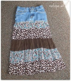 Old blue jeans + old dress = new skirt! I have a layered skirt inplace of dress. This will work-thanks for posting. Artisanats Denim, Denim Skirt, Denim Purse, Jeans Dress, Diy Clothing, Sewing Clothes, Jeans Refashion, How To Make Skirt, Old Dresses