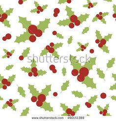 Vector seamless pattern with holly berries and leaves. Christmas wrapping paper background. Pattern for fabric print, cards design