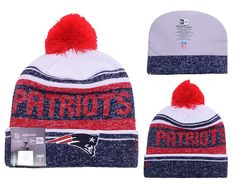 Men's / Women's New England Patriots New Era 2016 NFL Snow Dayz Knit Pom Pom Beanie Hat - White / Navy / Red