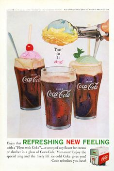 Enjoy the Refreshing New Feeling with a Float with Coke. a scoop of any flavor ice cream or sherbet in a glass of Coca-Cola! Tune in The Adventures of Ozzie and Harriet on ABC-TV. Enjoy the special zing and the lively lift. Retro Advertising, Retro Ads, Vintage Advertisements, Vintage Ads, Retro Food, Vintage Stuff, Vintage Coca Cola, Coke Ad, Coca Cola Ad