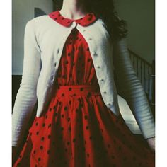 Red Peter pan Collier dress with cardigan