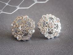 Vintage Style Wedding Earrings, Crystal Rhinestone Bridal Earrings, Silver Filigree Art Deco Wedding Stud Earrings, Bridal Jewelry, DEVANA